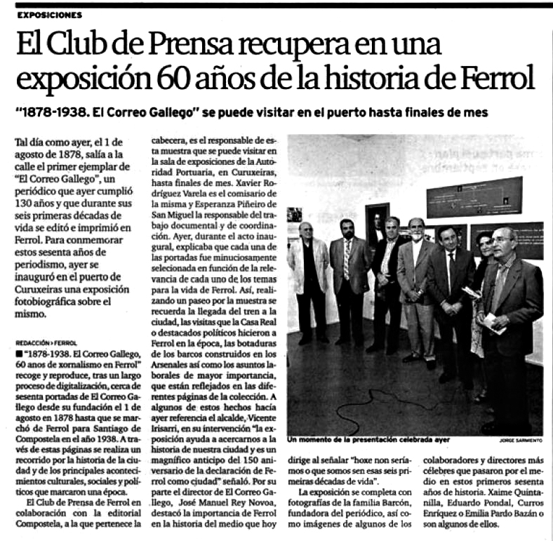 Nota de prensa sobre exposicion 1878-1938. El Correo Gallego