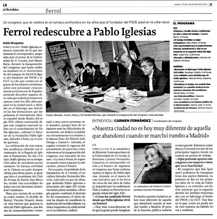 Nota Congreso Pablo Iglesias en 2010